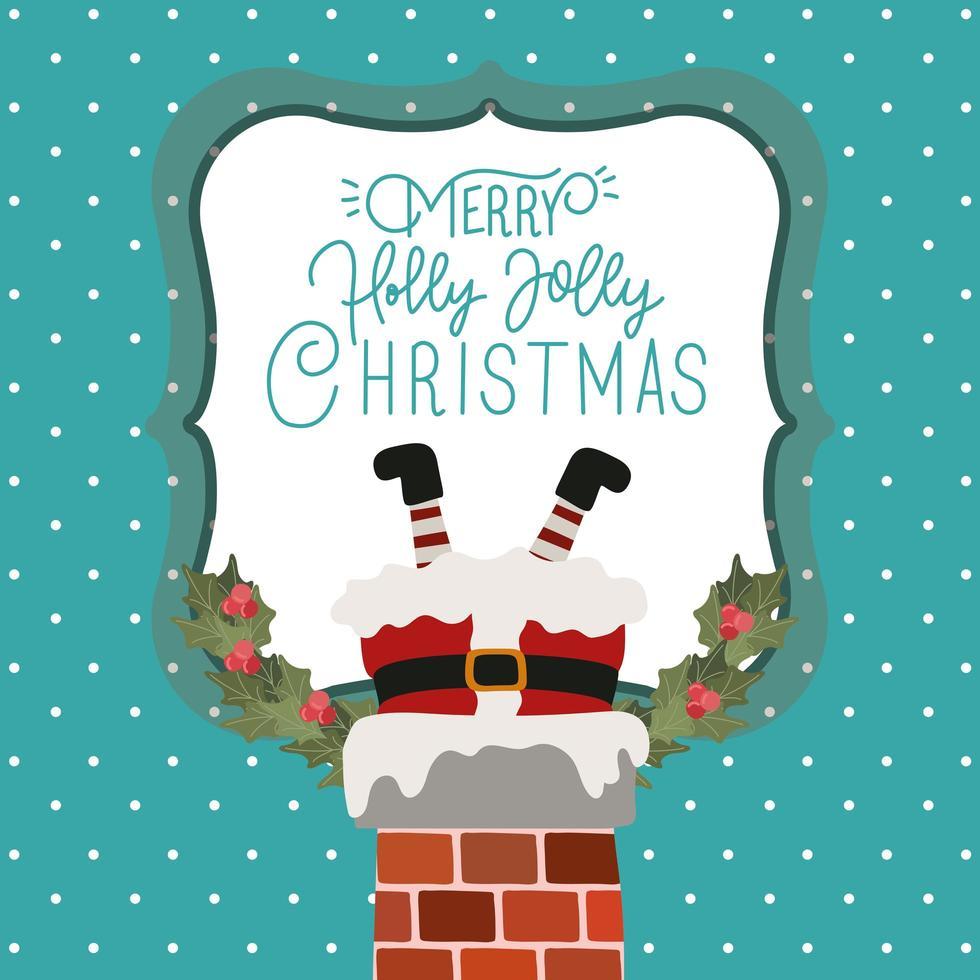 god julkort med jultomten i skorstenen vektor