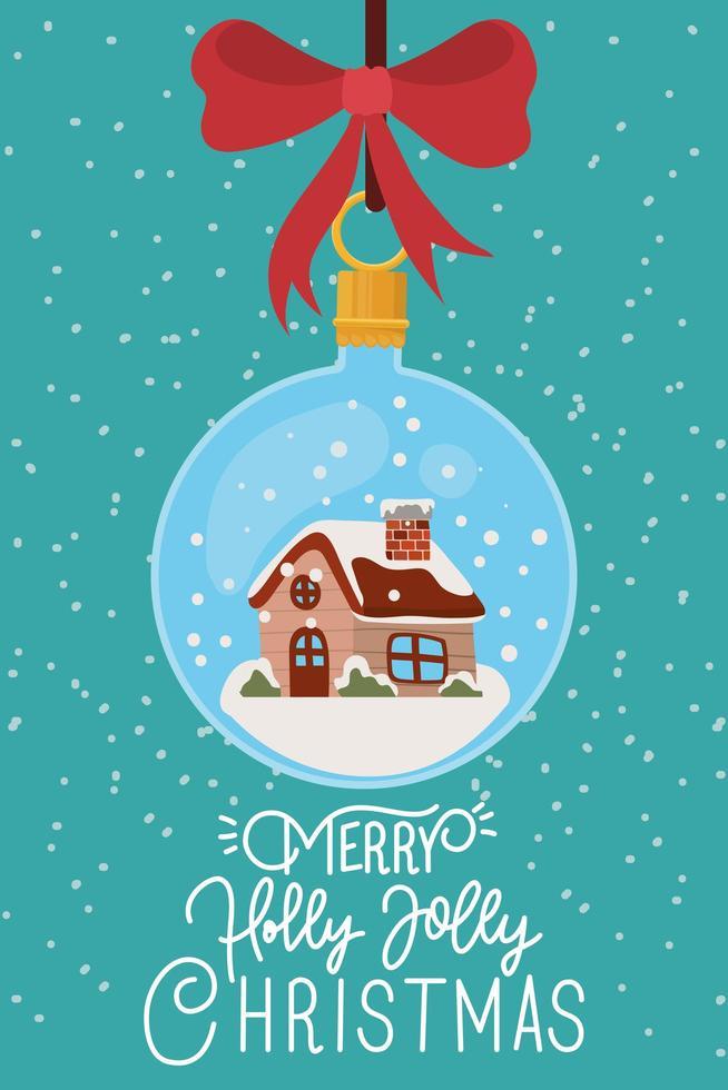 god julkort med hängande prydnad vektor