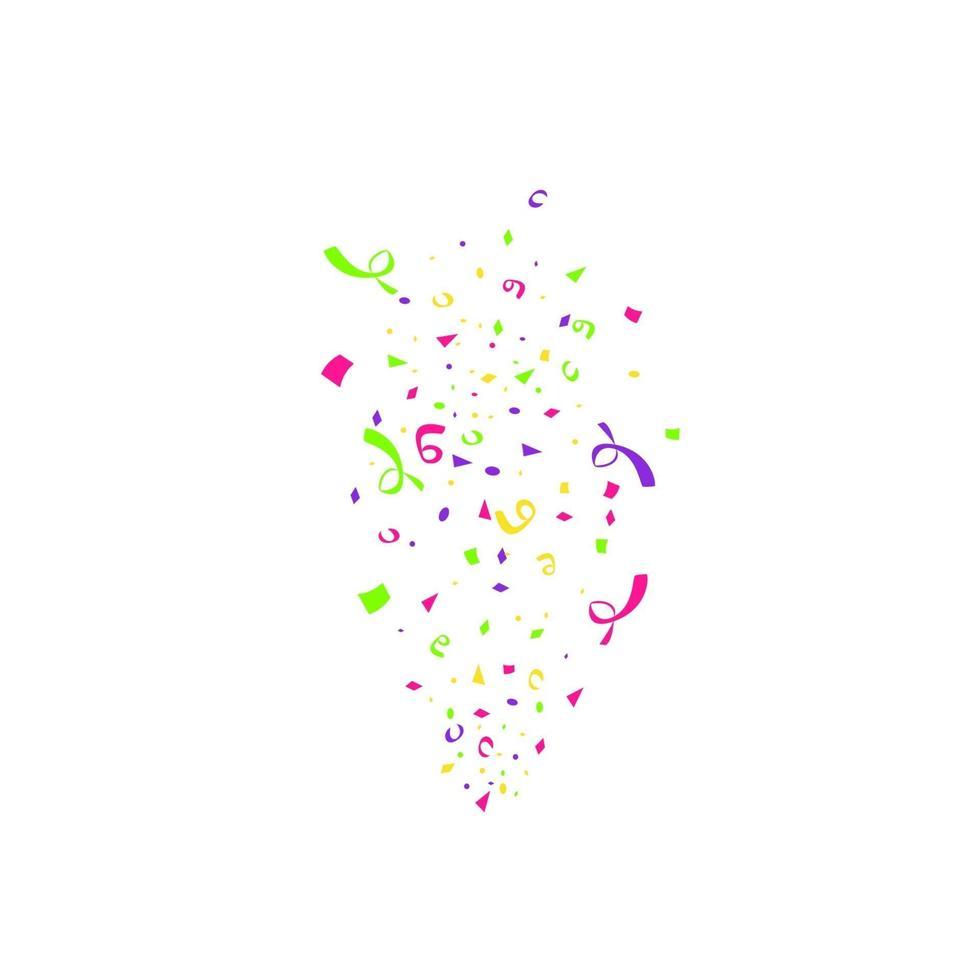 bunte Konfetti platzen lokalisiert auf weißem Hintergrund. festliche Vorlage. Vektorillustration fallender Teilchen für Feiertagsentwurf vektor