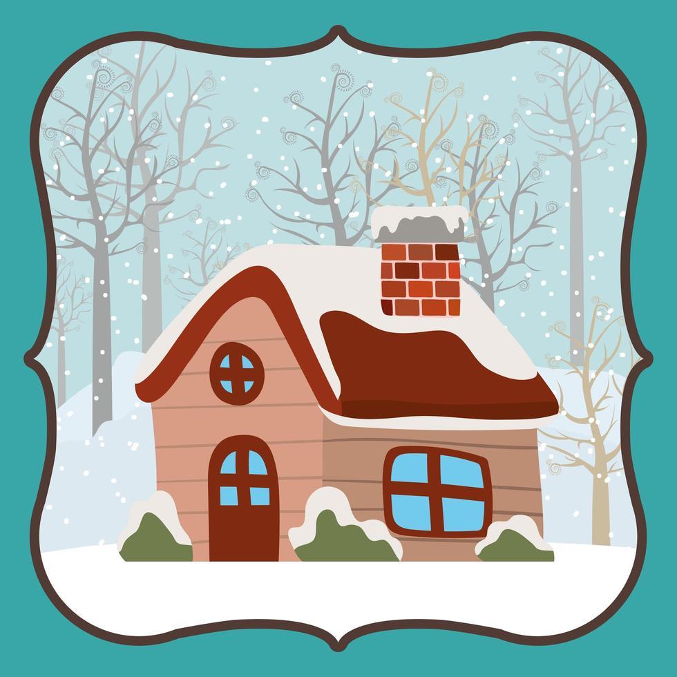 Frohe Weihnachtskarte mit niedlichem Haus vektor