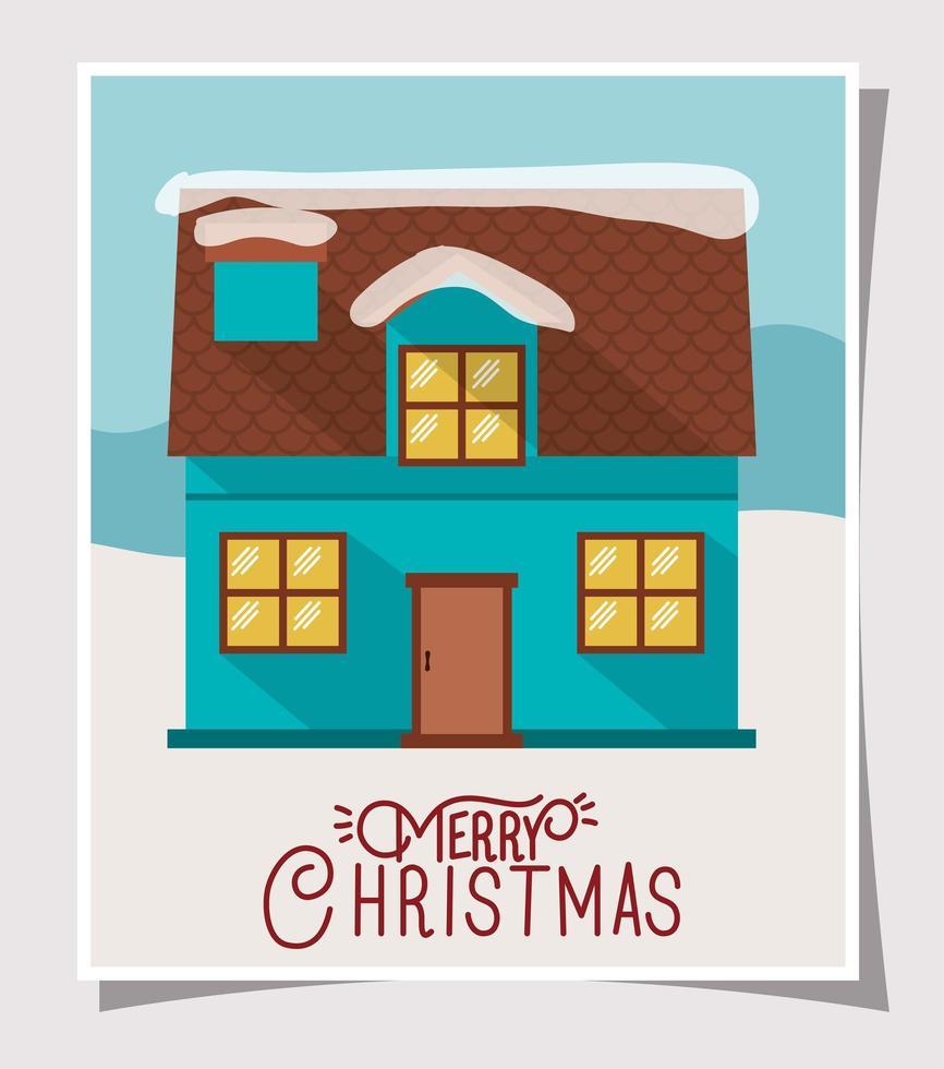 god julkort med sött hus vektor
