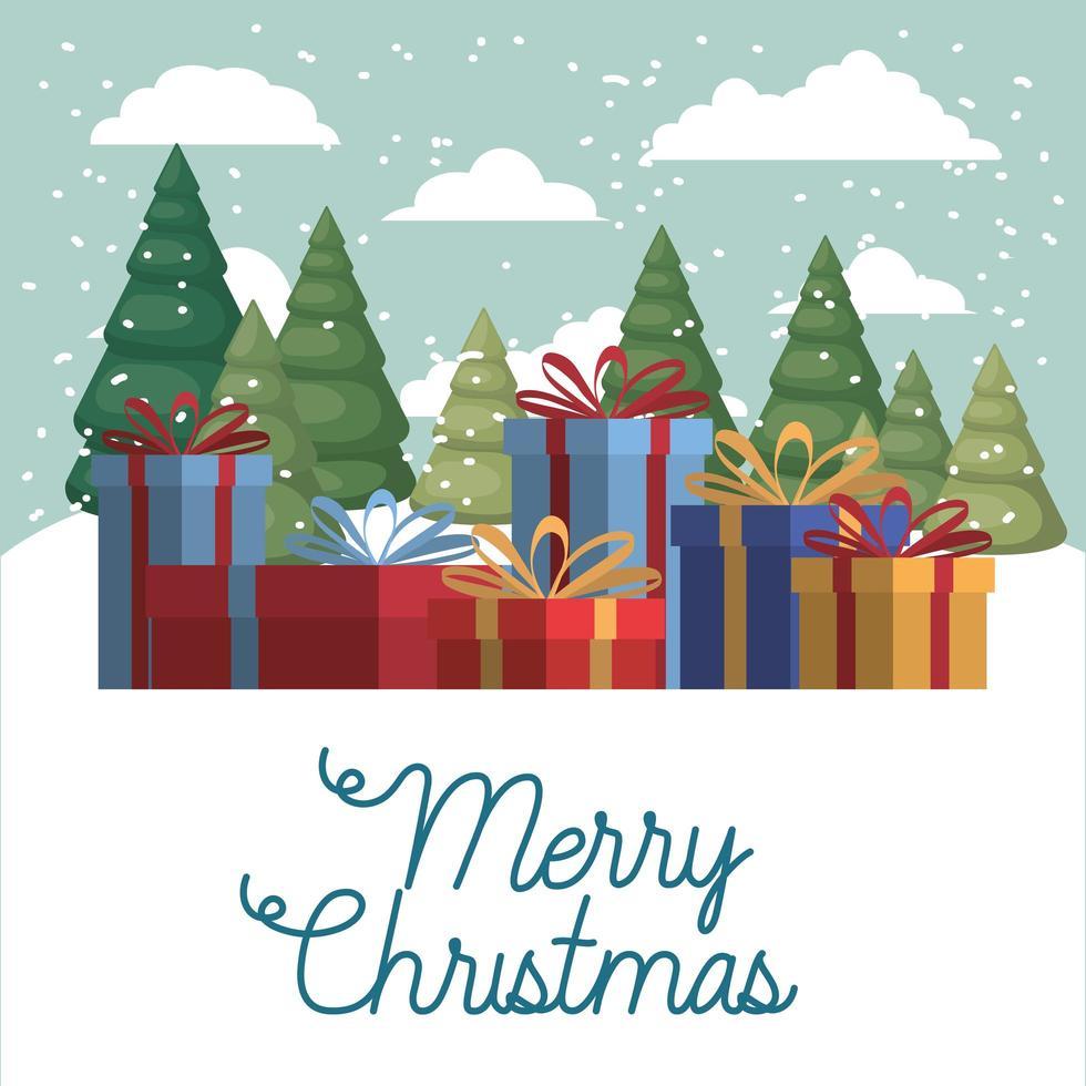 Frohe Weihnachtskarte mit Geschenkbox vektor
