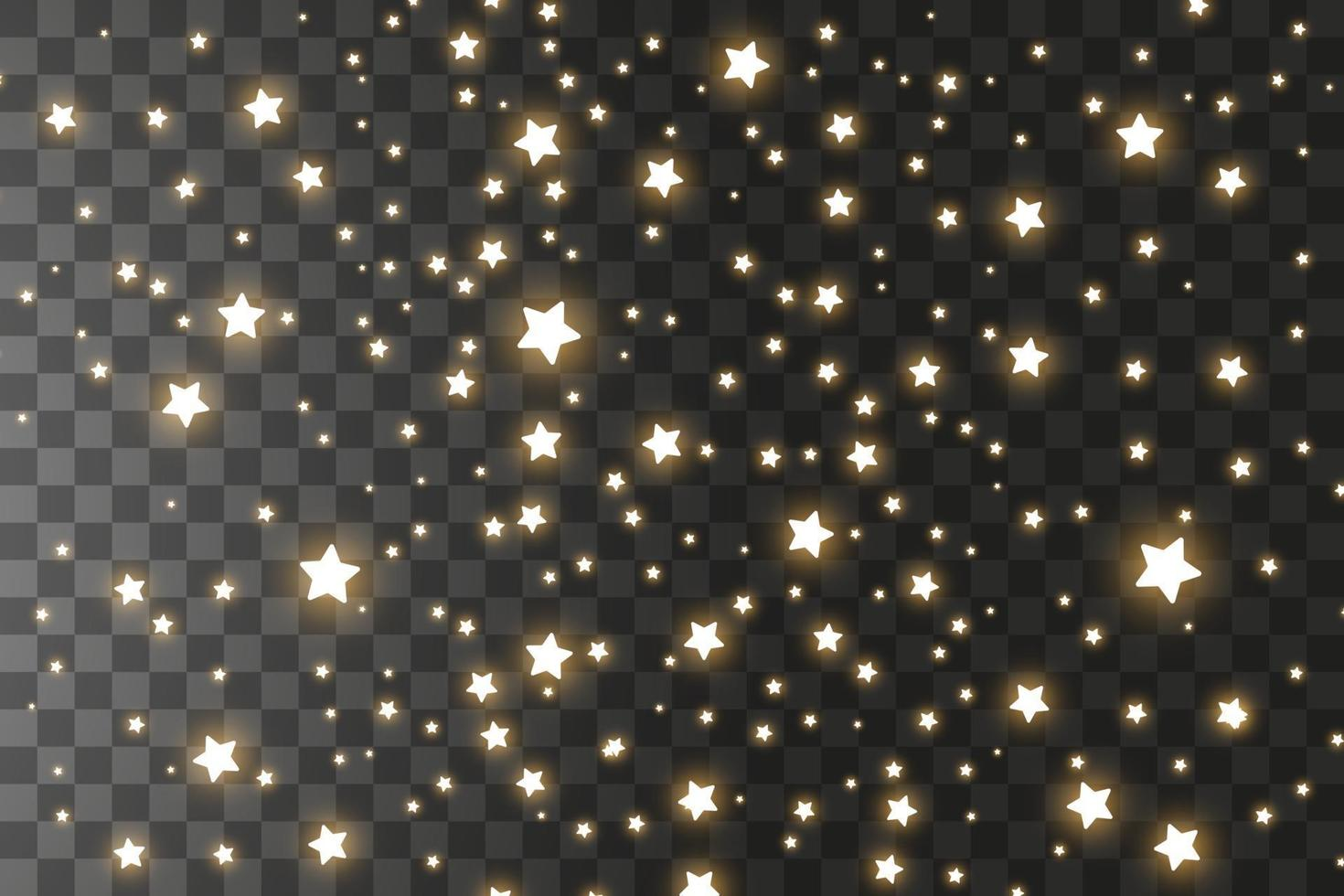 Satz goldener Sternschnuppen. Wolke der goldenen Sterne isoliert. Vektorillustration. Meteoroid, Komet, Asteroid, Sterne vektor