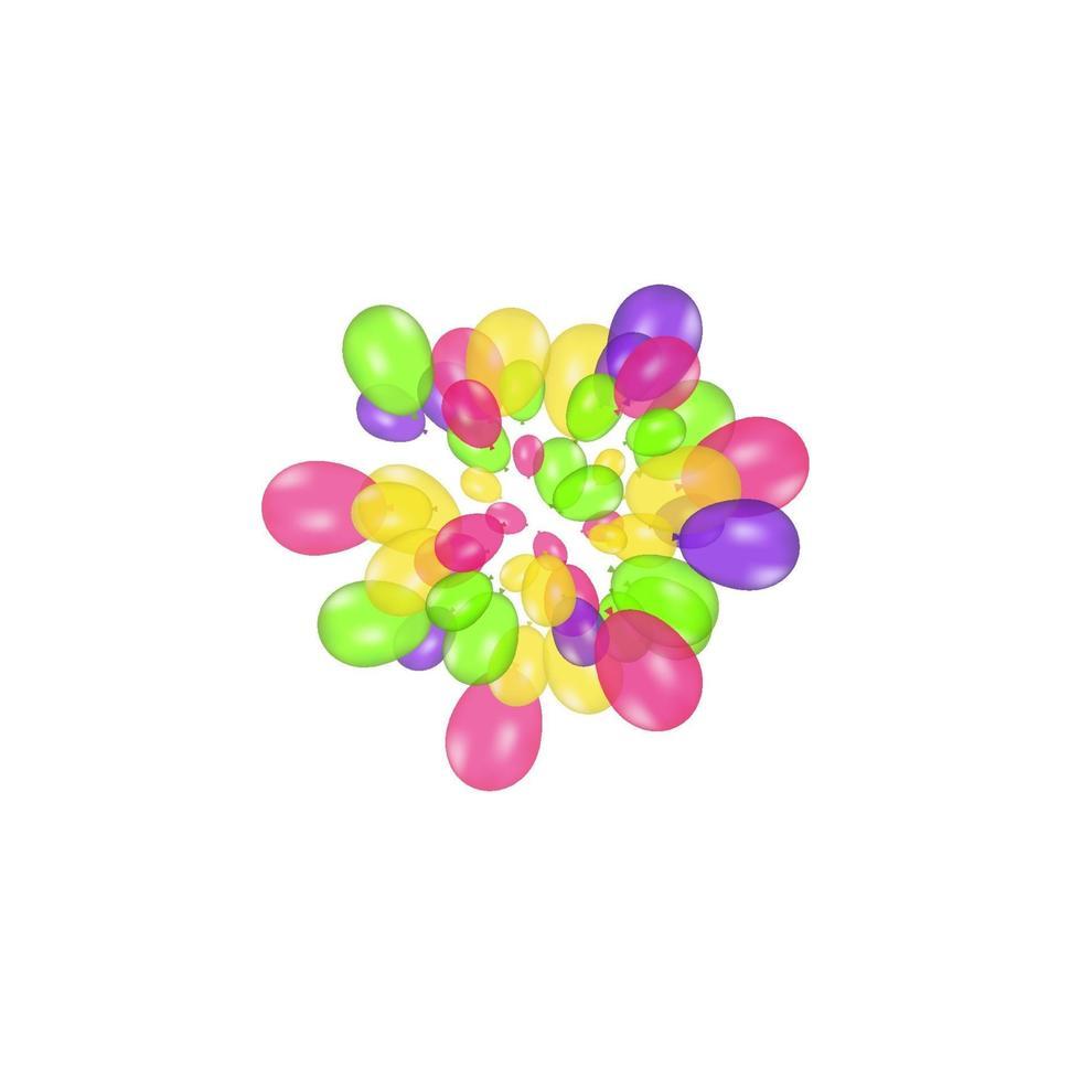 färgkomposition av realistiska vektorballonger isolerad på vit bakgrund. ballonger isolerade. för födelsedag gratulationskort eller andra mönster vektor