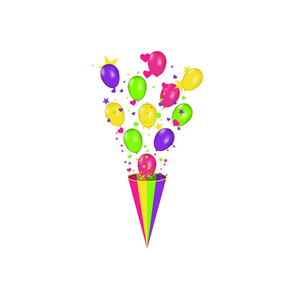 Farbzusammensetzung von vektorrealistischen Luftballons und buntem Konfetti platzte lokalisiert auf weißem Hintergrund. Luftballons isoliert. für Geburtstagsgrußkarten oder andere Designs vektor