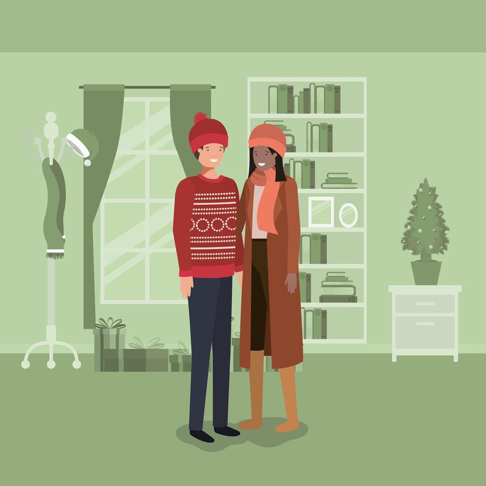 Interracial Paar feiert Weihnachten vektor