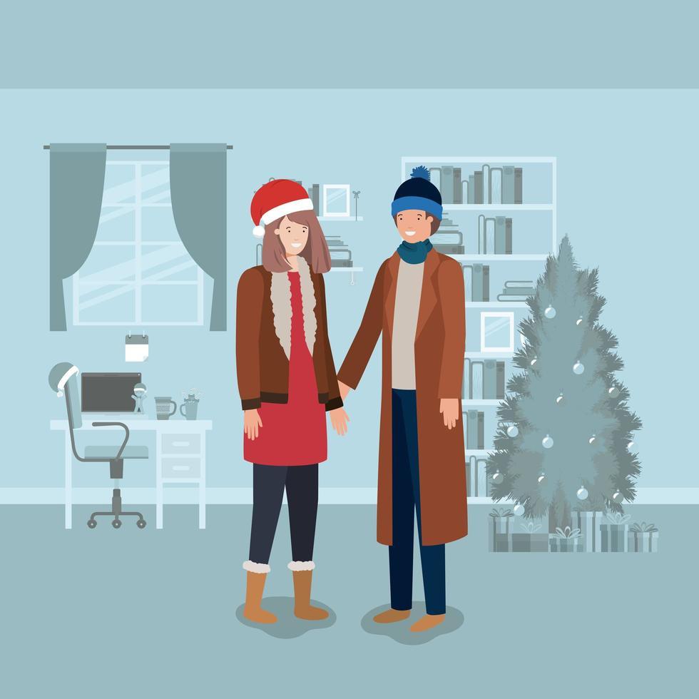 Paar feiert Weihnachten vektor