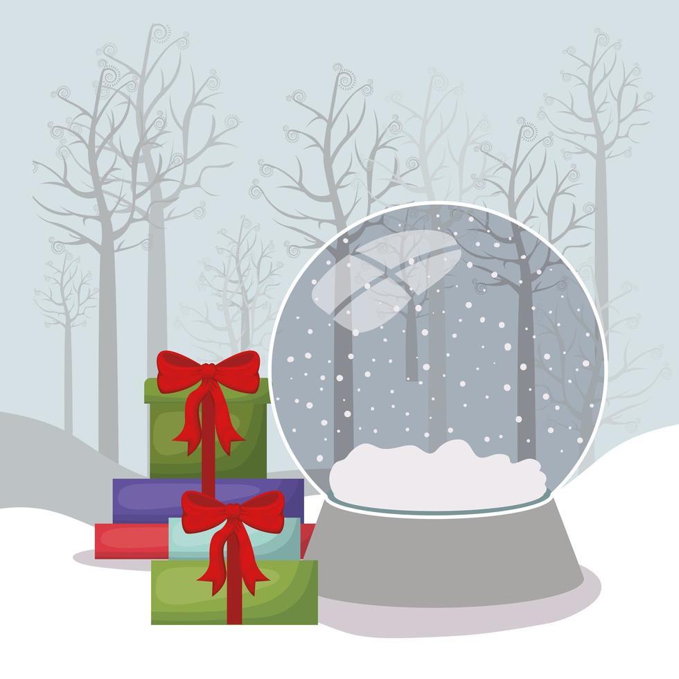 Frohe Weihnachtskarte mit Geschenken und Kristallkugel vektor