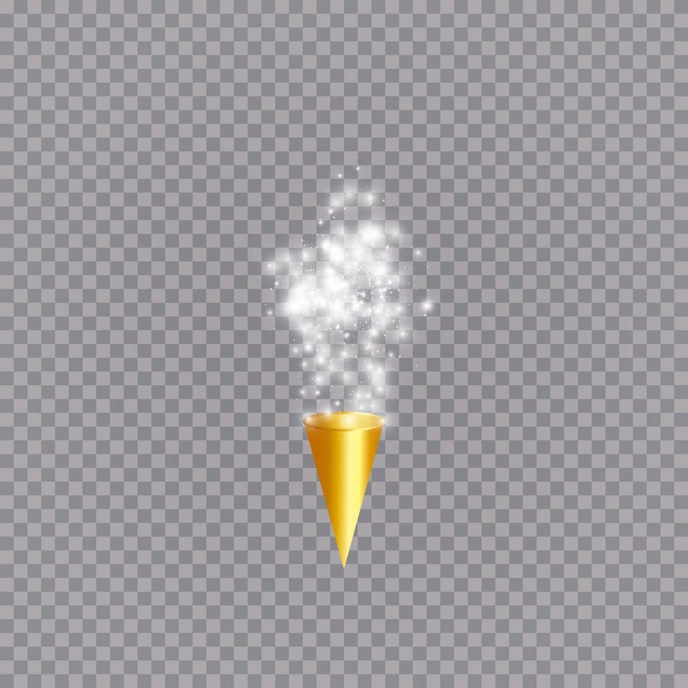 weißer Party Popper mit explodierenden Konfettipartikeln isoliert. vektor