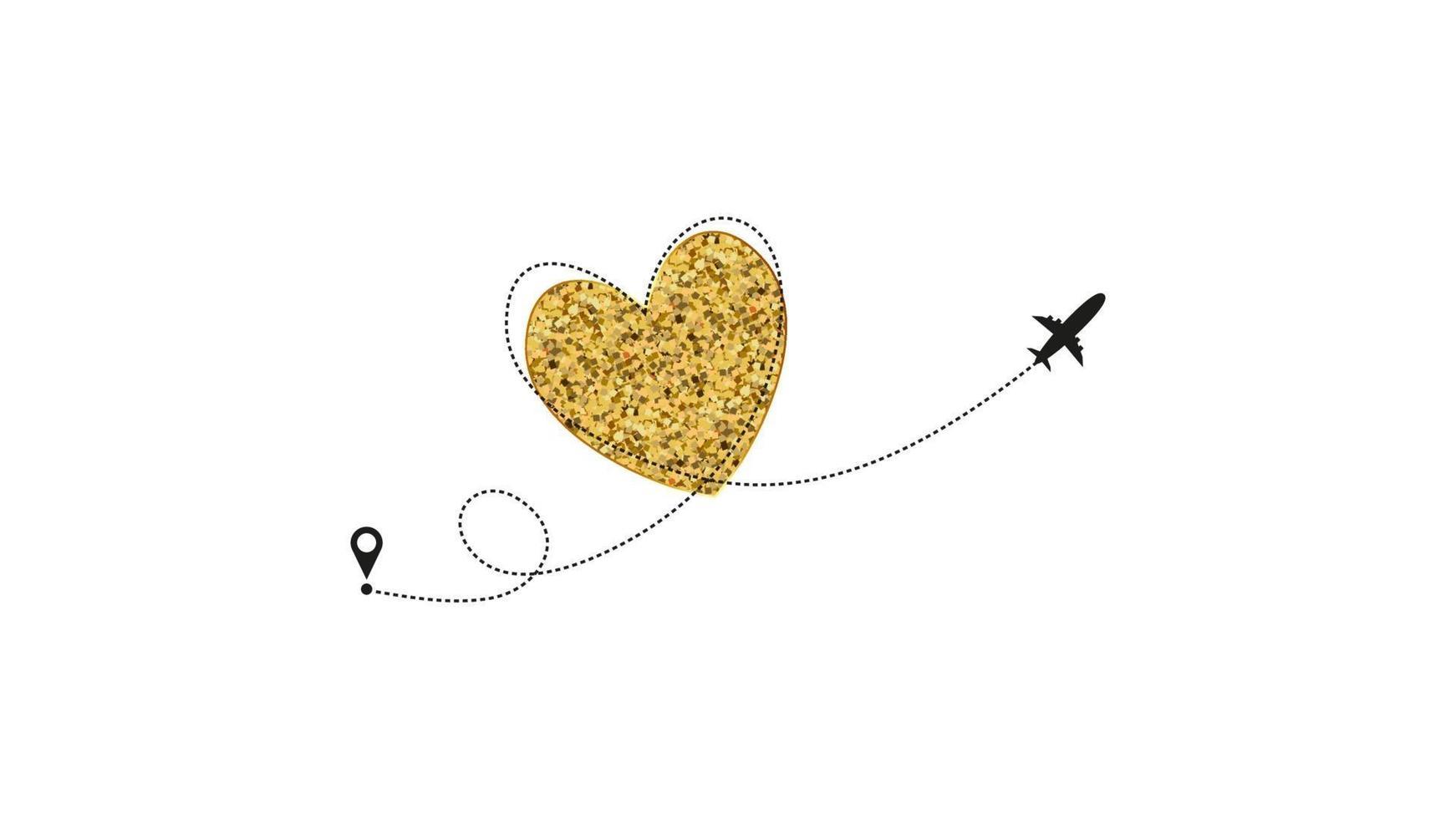 liebe Flugzeugroute. gestrichelte Linie des goldenen Herzens Spur und ebene Routen lokalisiert auf weißem Hintergrund. romantische Hochzeitsreise, Flitterwochenreise. herzförmige ebene Pfadzeichnung. vektor