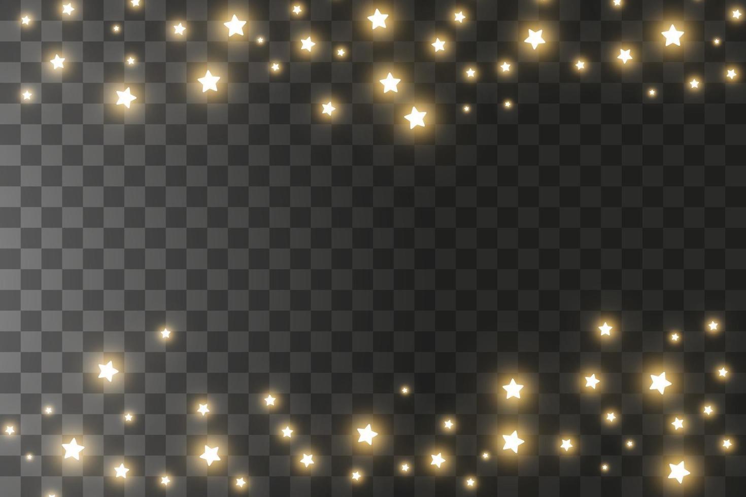 dammgnistor och gyllene stjärnor lyser med speciellt ljus. jul ljuseffekt. gnistrande magiska dammpartiklar. vektor