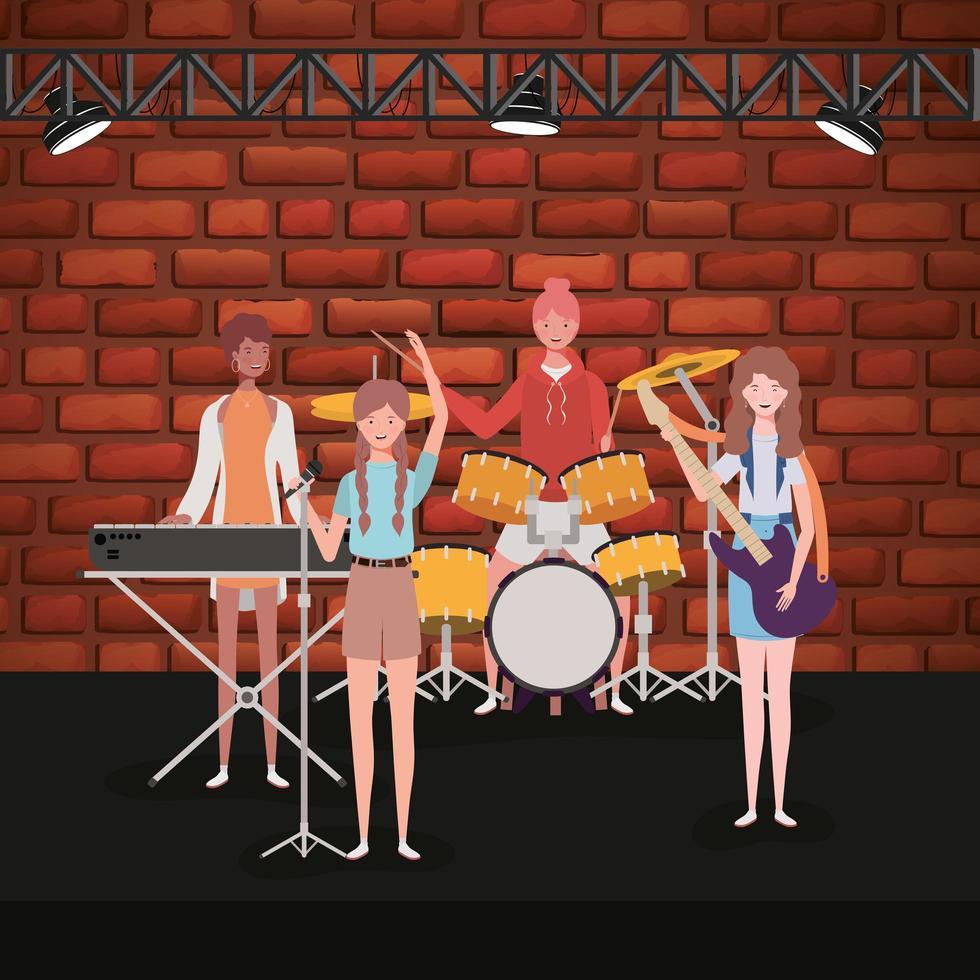 grupp kvinnor som spelar musik i ett band vektor