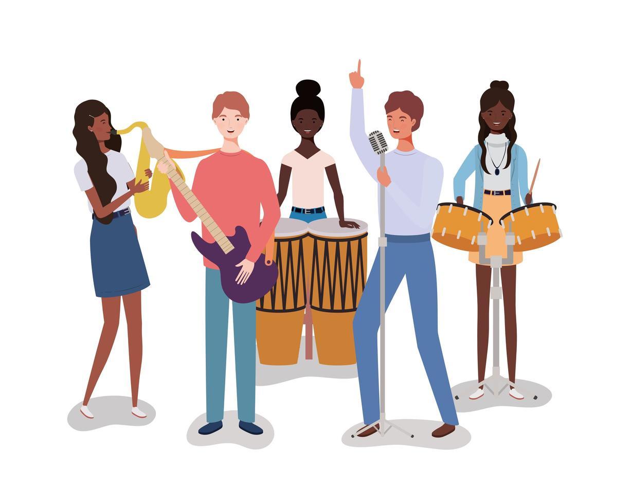 grupp av interracial människor som spelar musik i ett band vektor