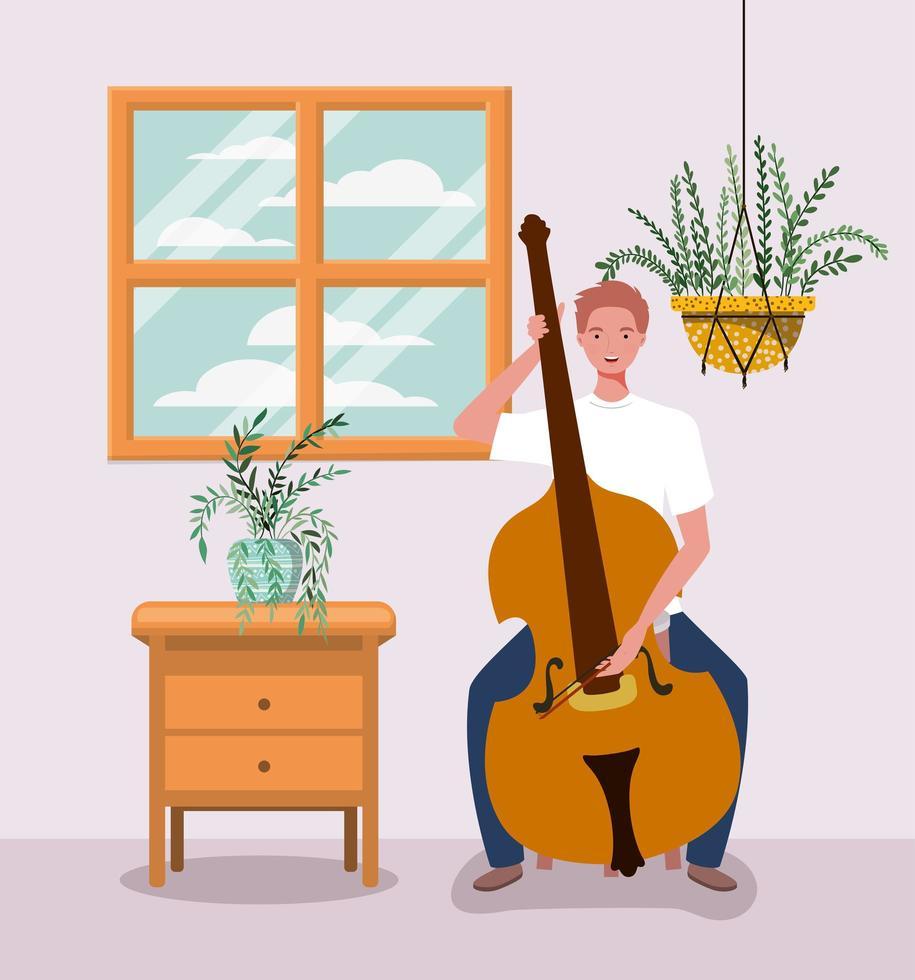 Mann spielt Celloinstrument Charakter vektor