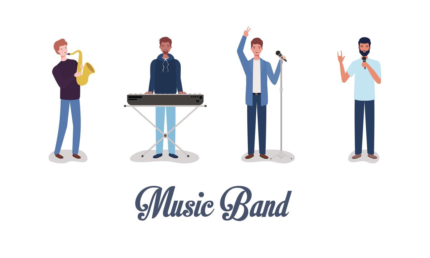 grupp av interracial män som spelar musik i ett band vektor
