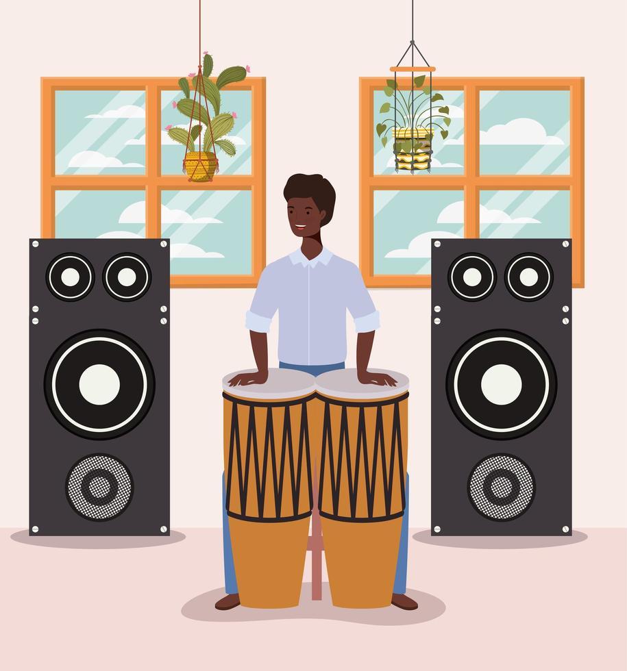 afro man spelar trummor vektor