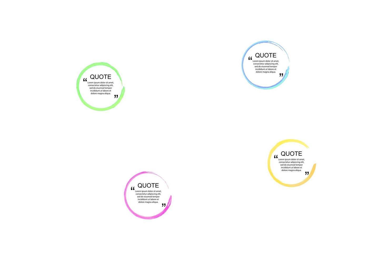 vektor citat ramar set, färgglada akvarell fläckar i bakgrunden, isolerad på vita designelement samling.