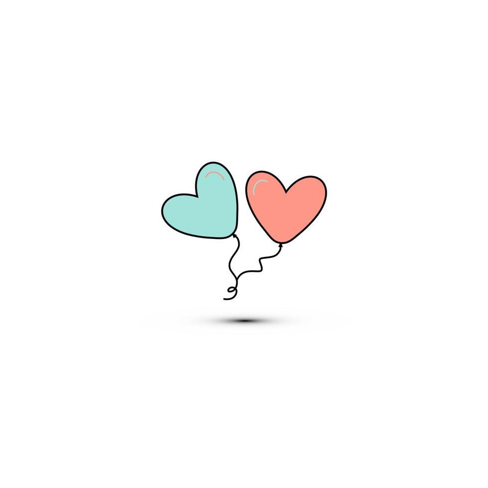 enkel platt stilikon med vackra två ballonger i form av hjärtan för kärleksfesten på alla hjärtans dag eller 8 mars. vektor