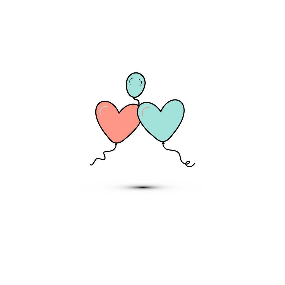 enkel platt stilikon med vackra tre ballonger i form av hjärtan för kärleksfesten på alla hjärtans dag eller 8 mars. vektor