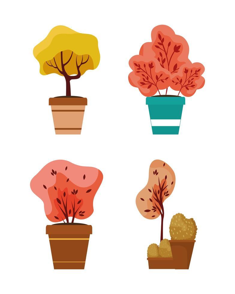 höstväxter i keramiska krukor ikoner vektor