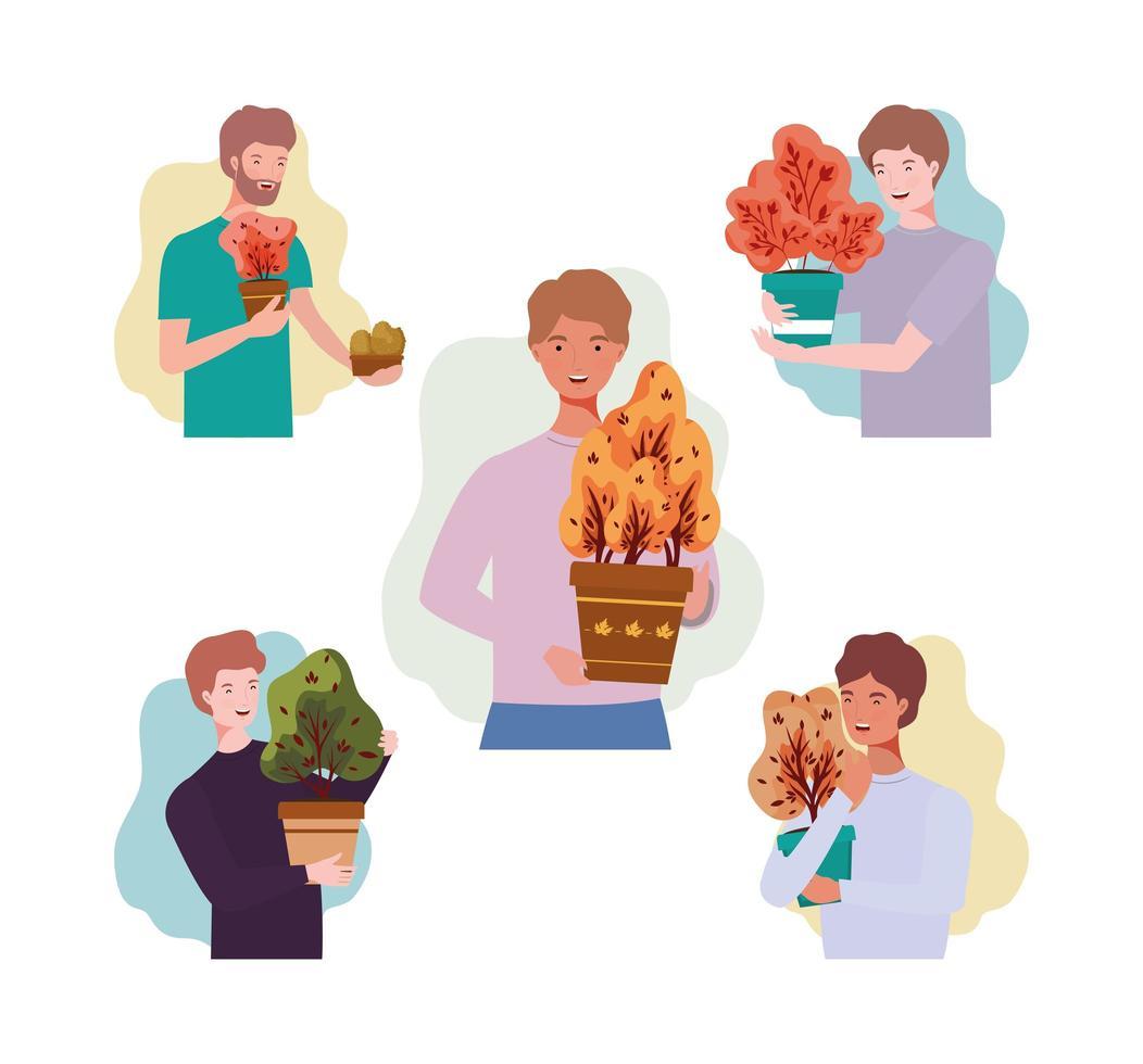 Gruppe von Männern mit Herbstpflanzen vektor