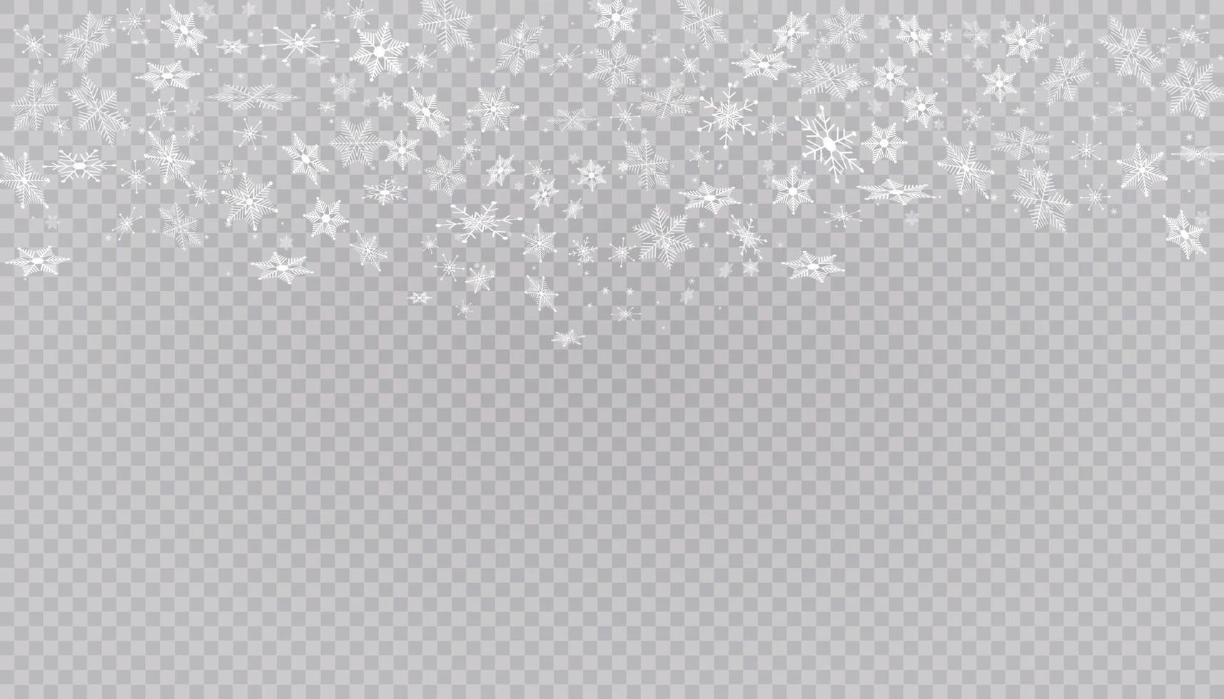 vit snö flyger. jul snöflingor. vinter snöstorm bakgrundsillustration. vektor