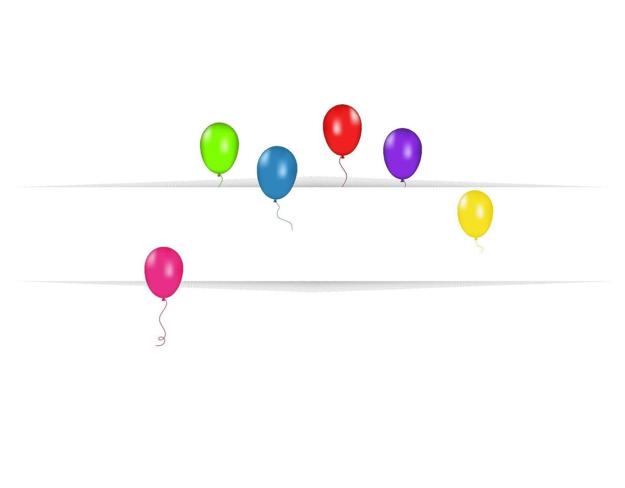 Tom banner med färgballonger isolerad på vit bakgrund. vektor festlig bakgrund. Grattis på födelsedagen koncept