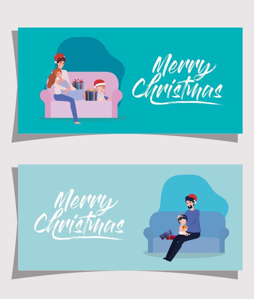 familjemedlemmar i vardagsrummet jul firande banner set vektor