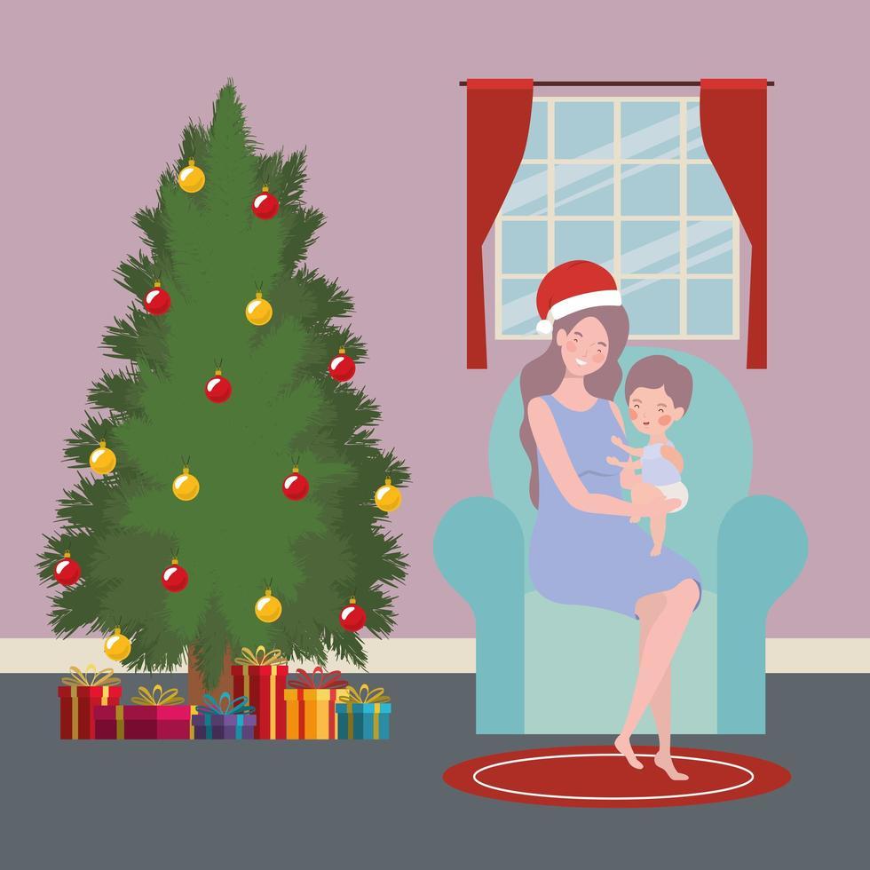 Mutter und Baby mit Kiefernweihnachtsfeier vektor