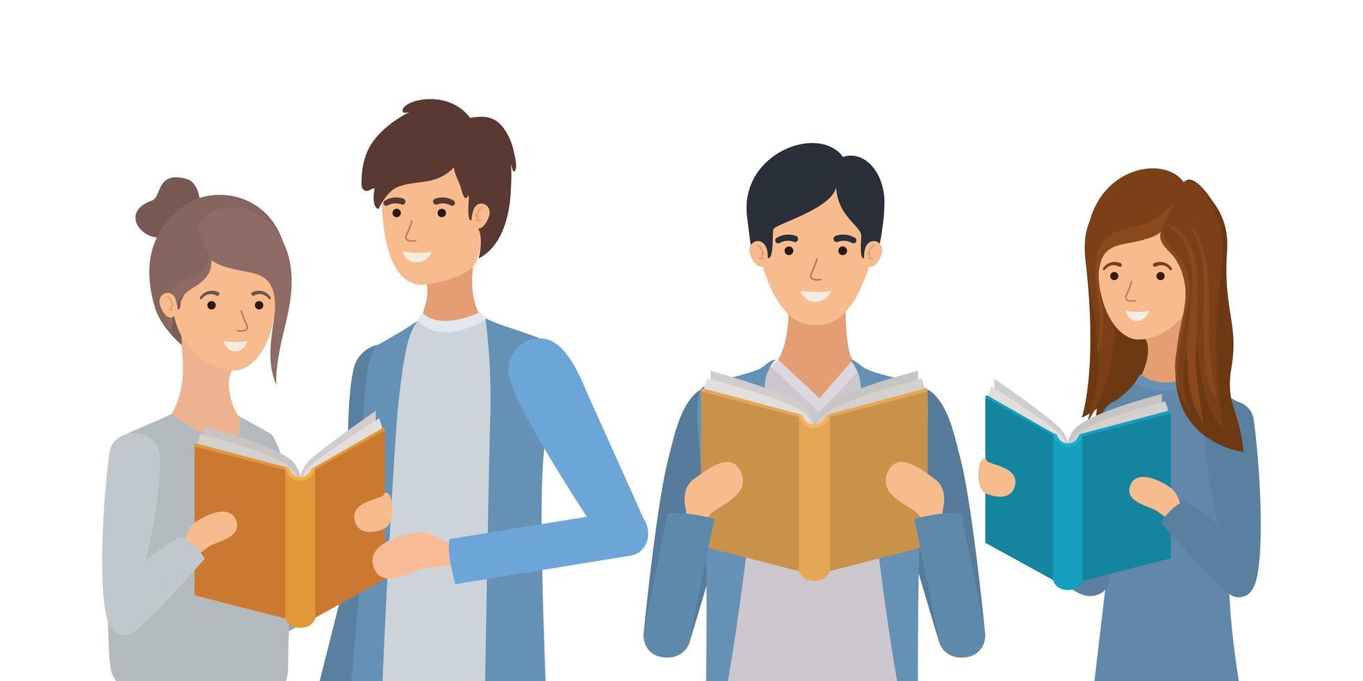 grupp studenter som läser böcker vektor