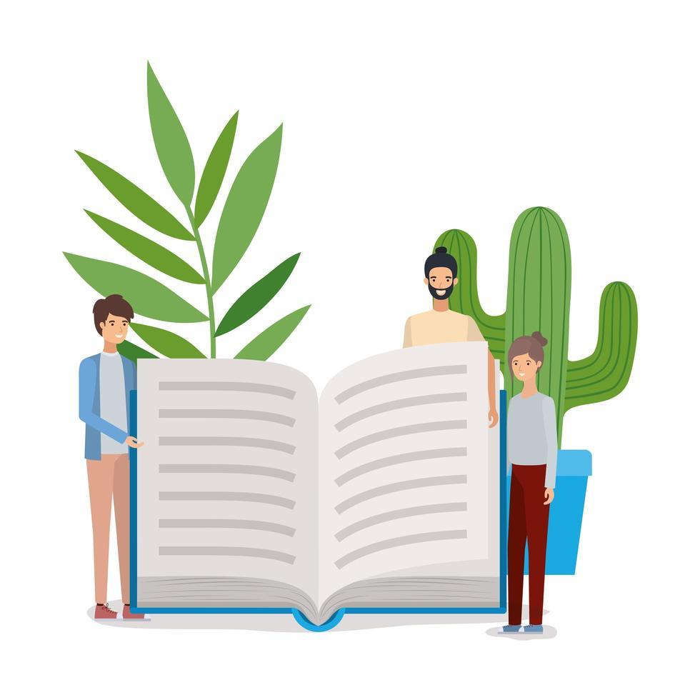 grupp elever pojkar läser böcker vektor