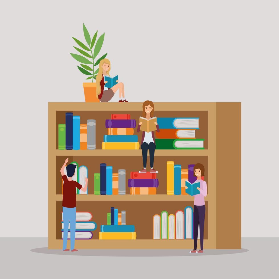 grupp studenter som läser böcker i biblioteket vektor