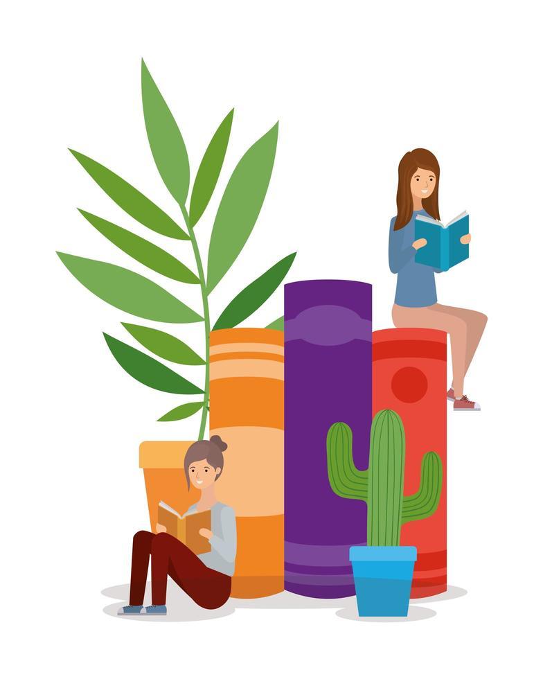 unga kvinnor som läser böcker vektor