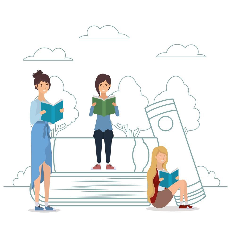 Gruppe von Studenten, die im Park Bücher lesen vektor