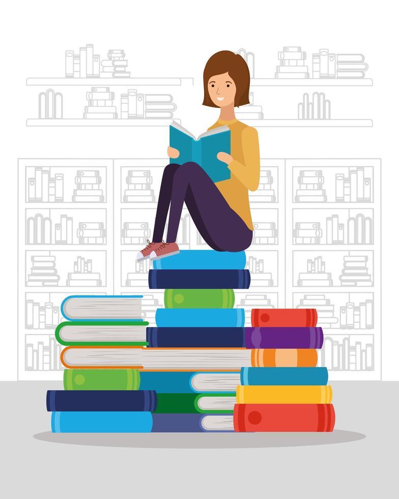 junge Frau, die Buch liest vektor
