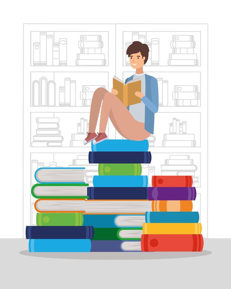 ung man som läser en bok vektor