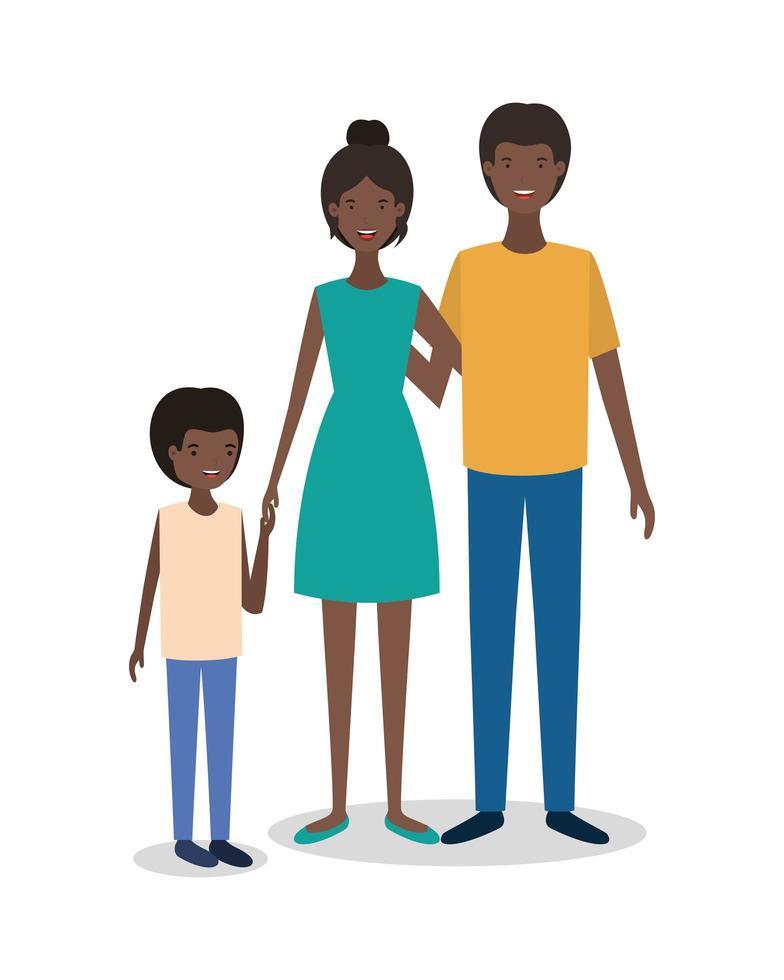 söta afro familjemedlemmar karaktärer vektor