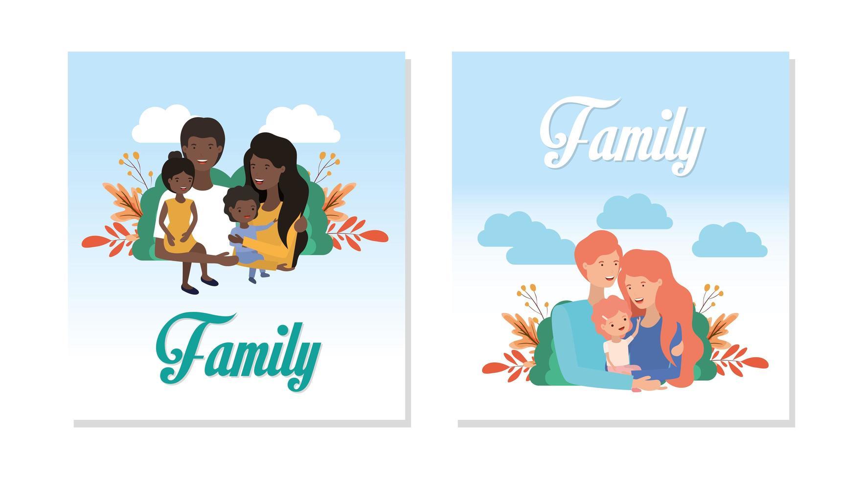 söt och lycklig familj vektor