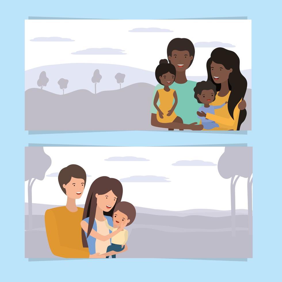 söt och glad familj banneruppsättning vektor