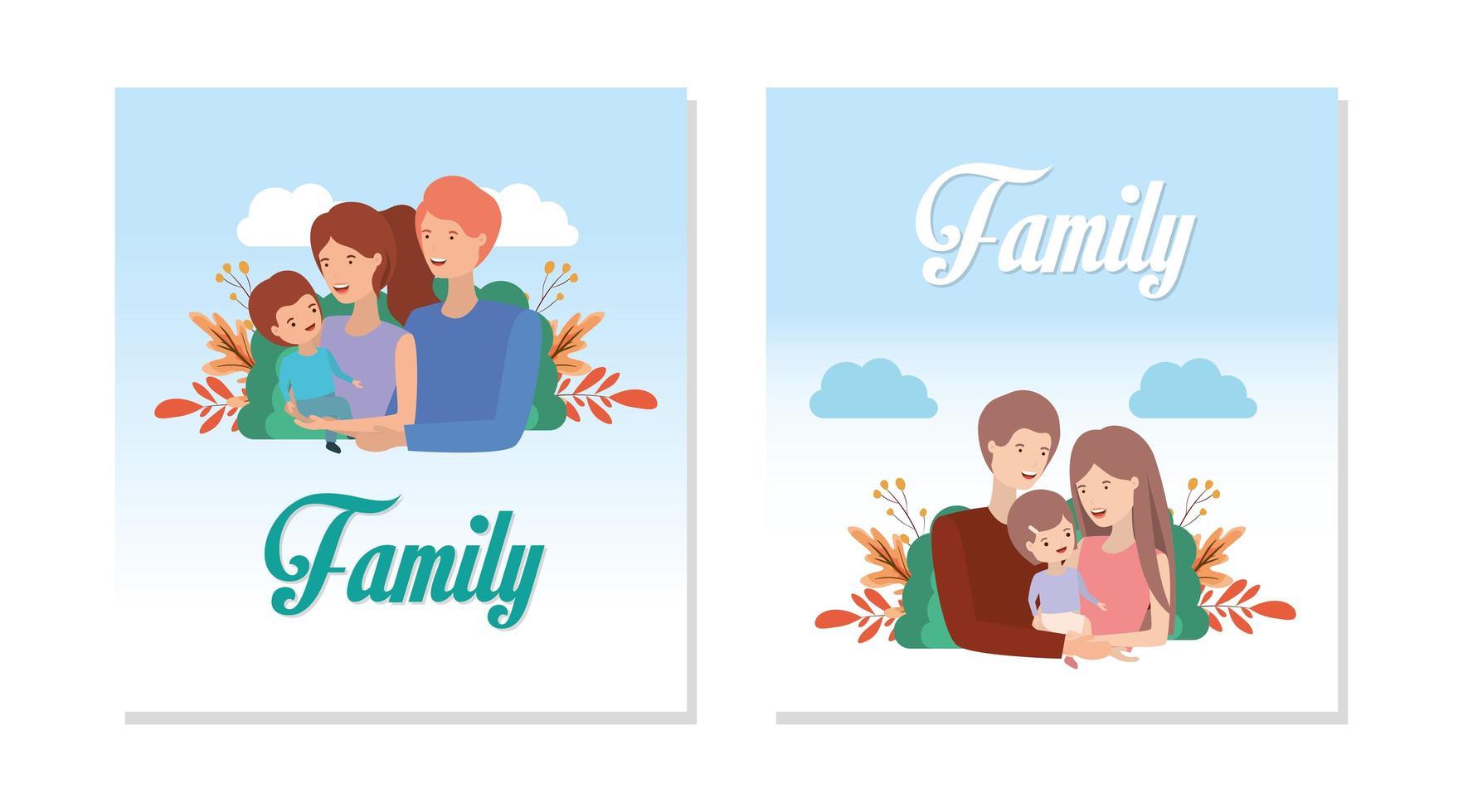 süßes und glückliches Familienset vektor