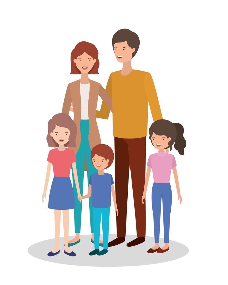 süße und glückliche Familienmitglieder Charaktere vektor
