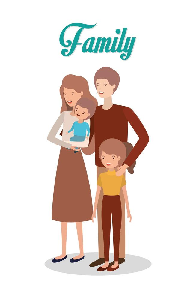 söta och glada familjemedlemmar karaktärer vektor