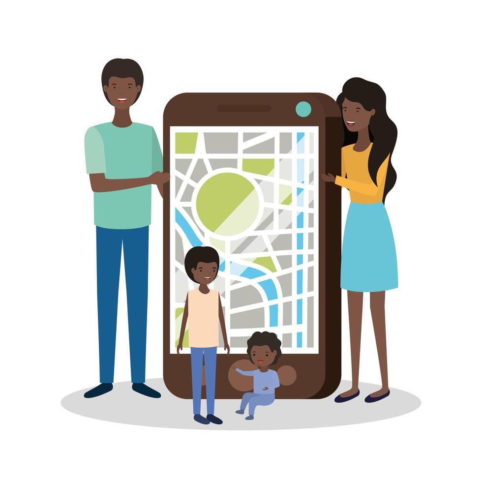 söta afro familjemedlemmar med smartphone vektor