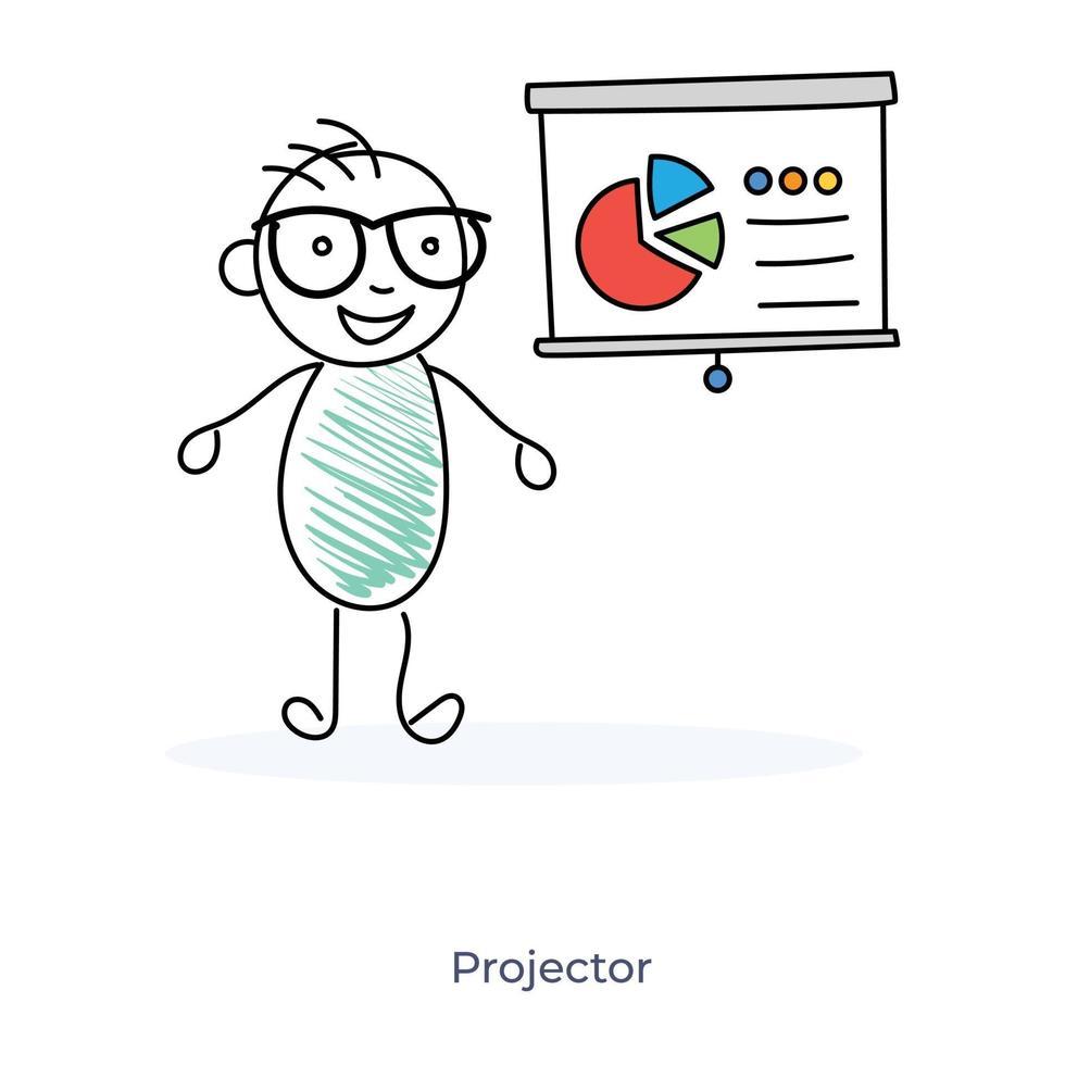 Zeichentrickfigur, die Geschäftspräsentation gibt vektor