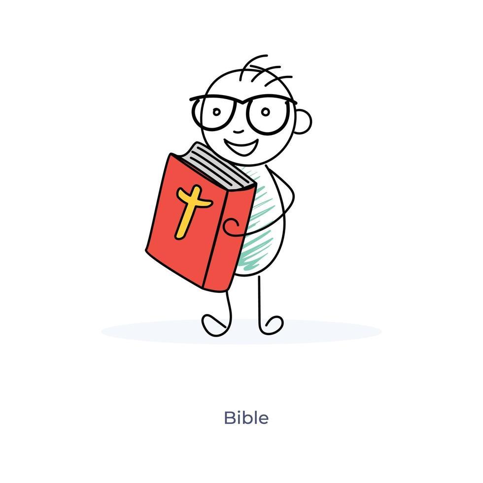 tecknad pojke håller bibeln vektor