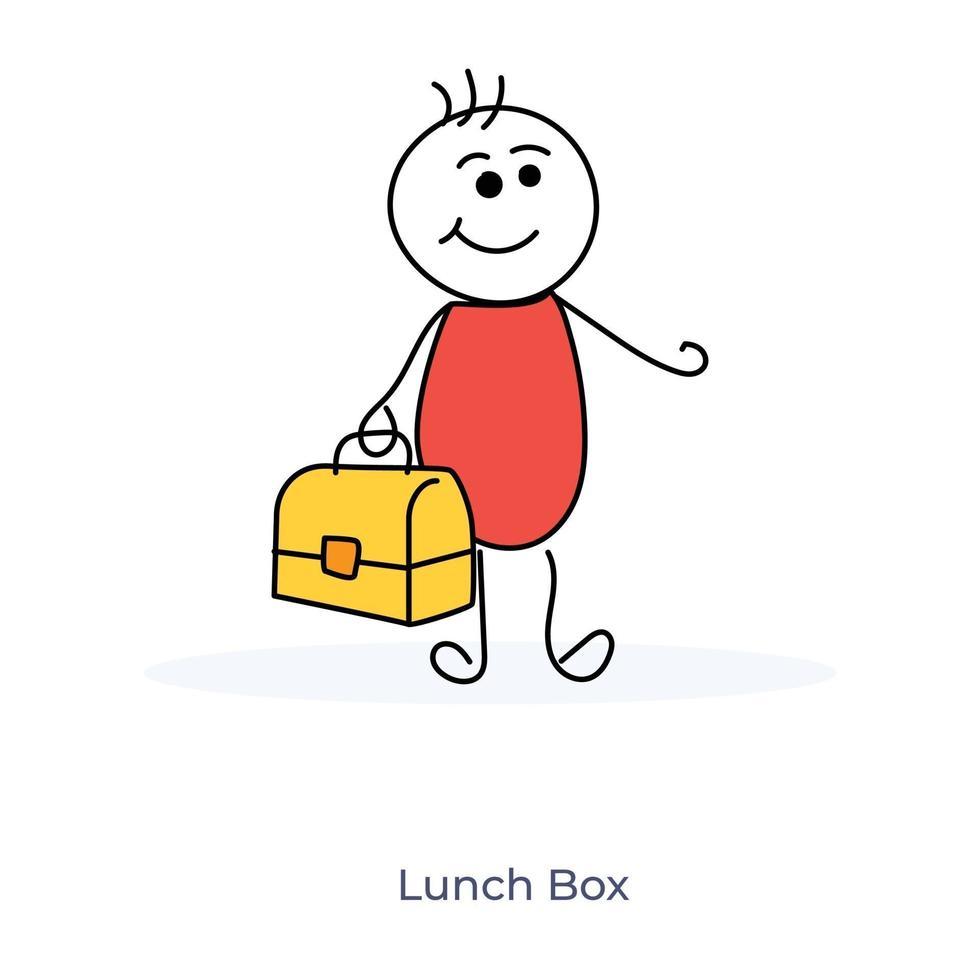 tecknad pojke som bär lunchlåda vektor
