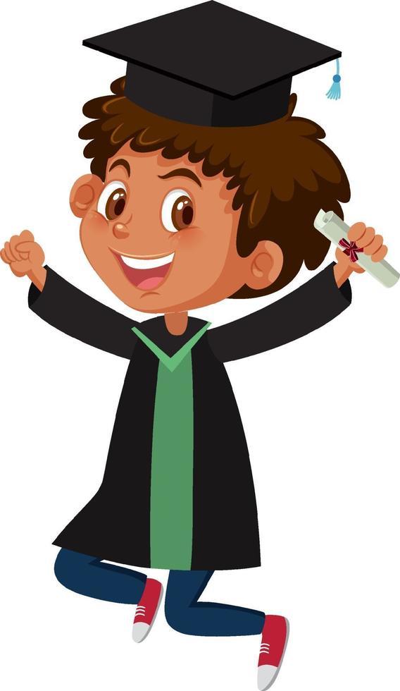 Zeichentrickfigur eines Jungen, der Abschlusskostüm trägt vektor