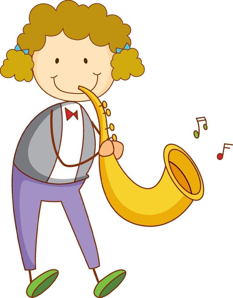 en klotterunge som spelar saxofon tecknad karaktär isolerad vektor