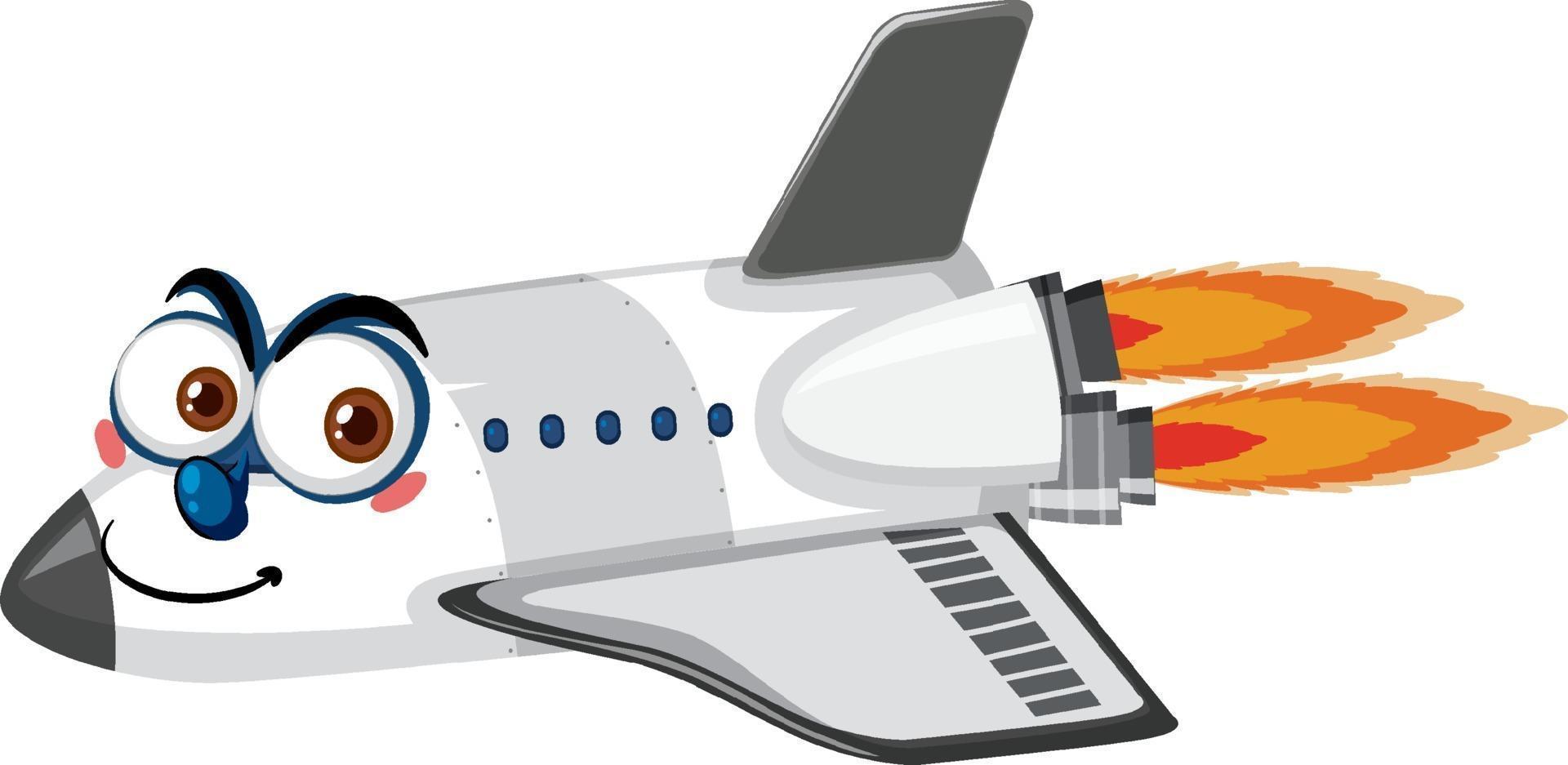 flygplan seriefigur med ansiktsuttryck på vit bakgrund vektor