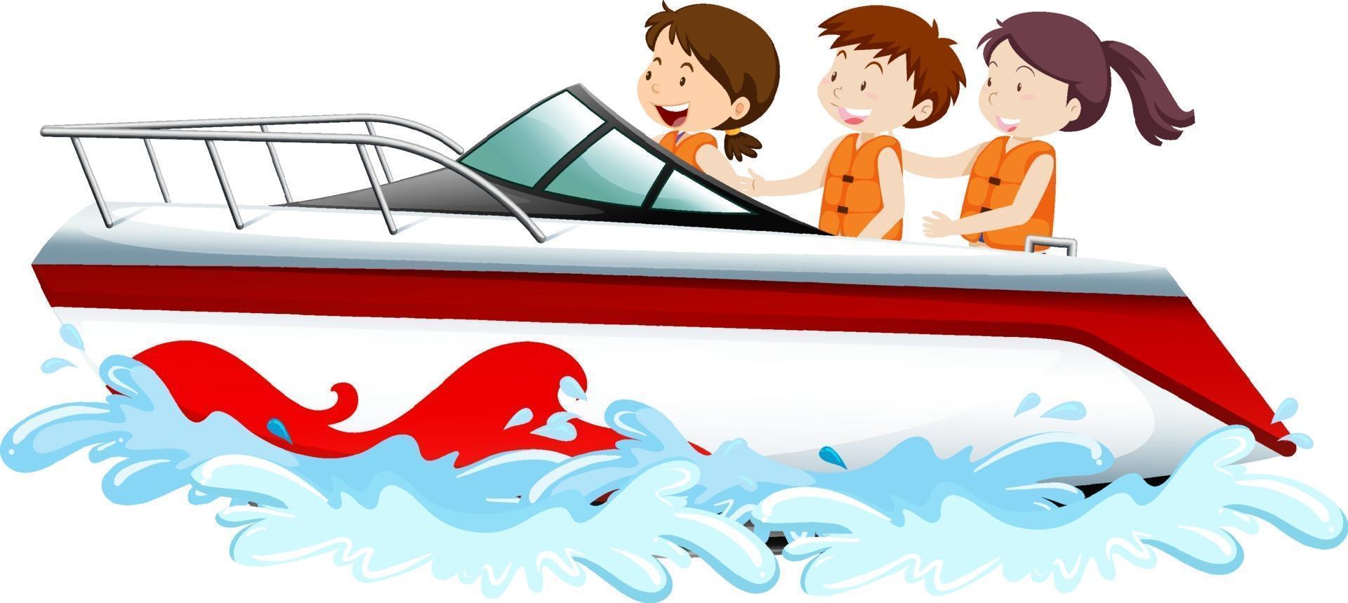Leute, die auf einem Schnellboot lokalisiert auf weißem Hintergrund stehen vektor
